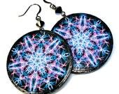 Lightweight Mandala Earrings, Violet, Blue and Purple, Mandala Art, Star, Sand Dollar, LARGE