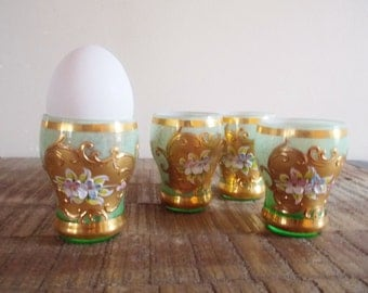 Four Antique Baroque Gilded Glass Eggcups with Raised Flowers