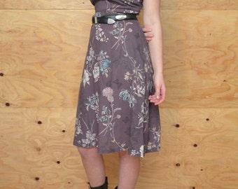 Vintage 70's A-line Summer Dress Purple & Blue Floral Print SZ S