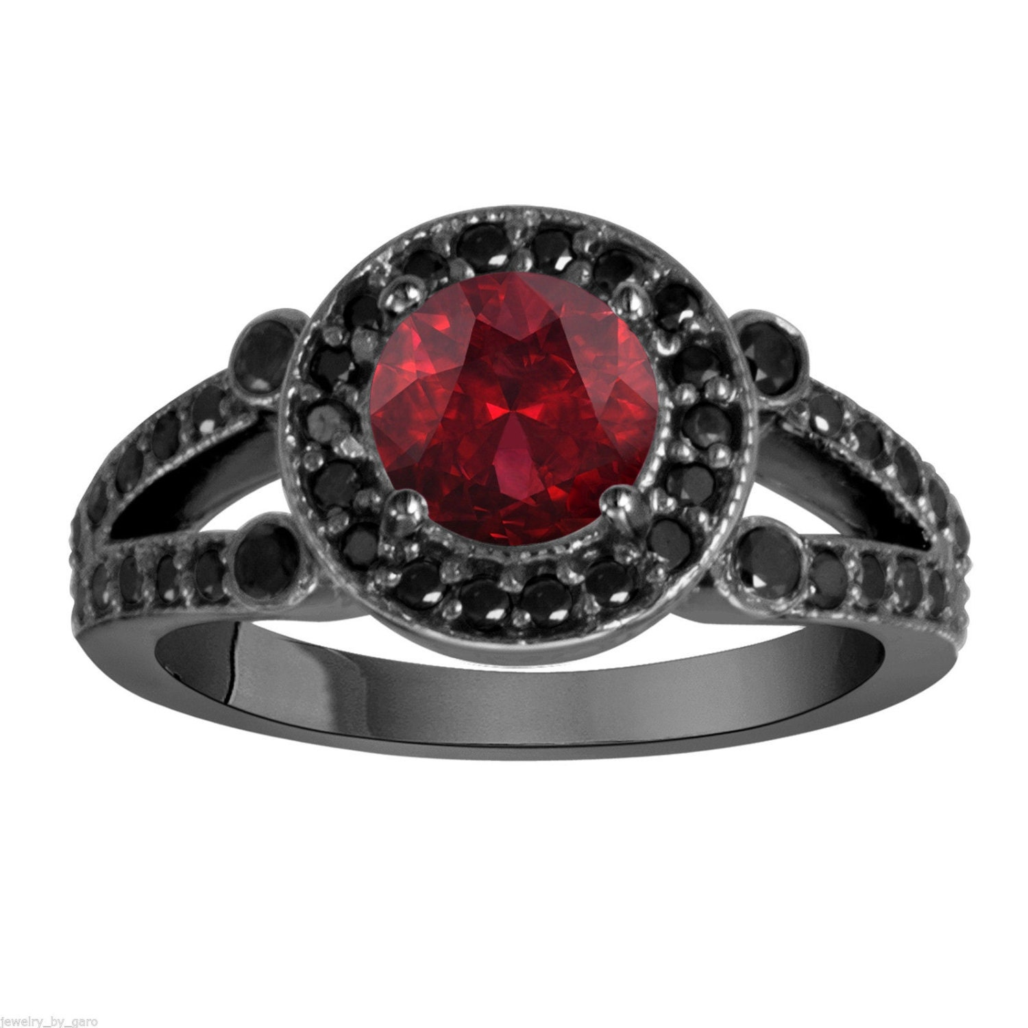 Garnet & Black Diamond Engagement Ring Wedding Ring Vintage