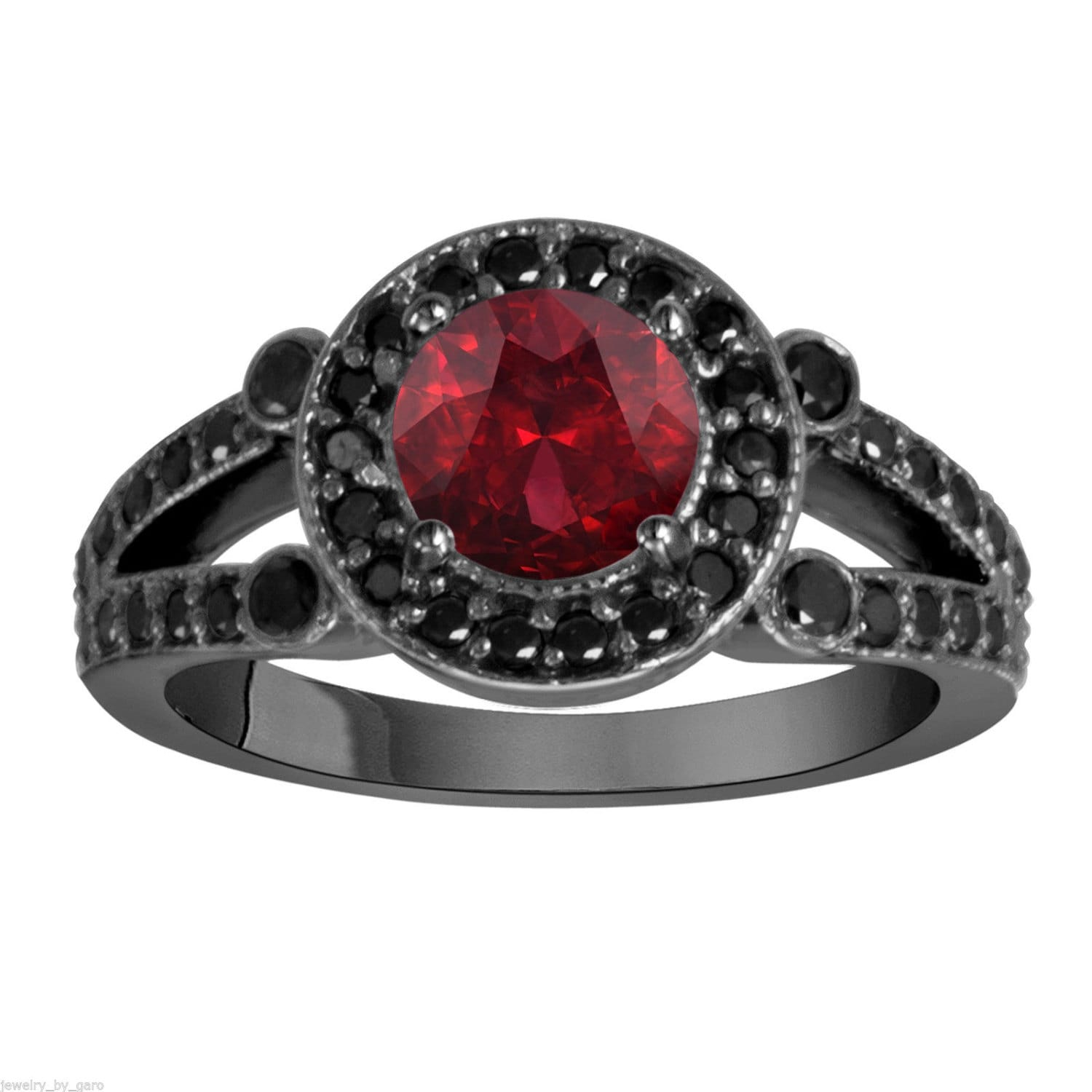 garnet black diamond engagement ring wedding ring vintage