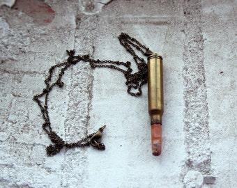 jasper bullet necklace . bullet casing necklace . long bullet necklace . red jasper / orange jasper jewelry