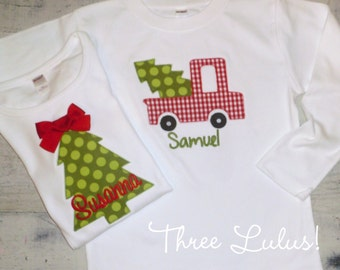 Applique Christmas Shirt Personalized Boy Long or Short Sleeve Monogrammed Christmas Tree Truck Holiday Boy