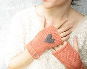 Knit Handwarmers - Fingerless Mitts  -  Embroidered Heart - Coral and Grey