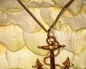 Sale Price Reduction Vintage Gold Plated Anchor Pendant on Gold Plated Chain