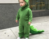 Dinosaur Halloween Costume Green Dino kids costume full suit with long tail, spines and hood for boys, girls, toddler, children