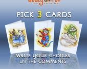 "PICK 3 CARDS - 4.5"" x 7"" blank card & envelopes"