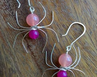 Malaysian Jade (Dyed Quartz) Gemstone Spider Earrings