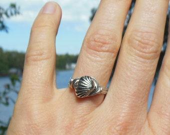 silver wire wrapped Seashell Ring - 6.5 - 6 1/2 - metal  - handmade - women men unisex bohemian wrap - accessories accessory