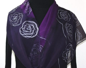 Silk Scarf Hand Painted Chiffon Silk Shawl Purple Blueberry Silk Scarf BLUEBERRY ROSES  Extra Long 11x90 Birthday Gift Scarf Gift-Wrapped