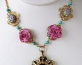 Pink Blue Black and Gold Flower Necklace made with Upcycled Vintage Enamel Guilloche Brooch and Earrings