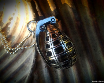Grenade Necklace - Hand Grenade pendant, unisex bomb jewelry, steampunk military weapon, victorian gothic gun bullet, soldier army marines