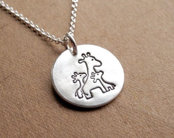 Small Mother and Twin Giraffe Necklace, Mom and Two Kids, New Mom Jewelry, Fine Silver, Sterling Silver Chain, Made To Order