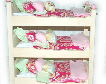 Doll Bed - Kumani Garden Triple Bunk - Fits 18 inch dolls and AG dolls - American Girl Furniture