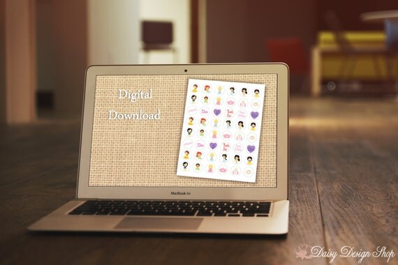 Digital Sticker Sheet - Princess Cuties - Perfect for Baby Showers or Birthday Parties