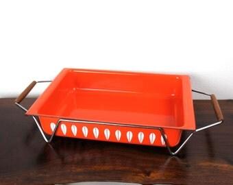 Vintage Cathrineholm Orange Lotus Lasagna Dish with Frame, Enameled Steel, Mid Century Pan, Chrome Teak Caddy 1960s Norway, Grete Kittelson
