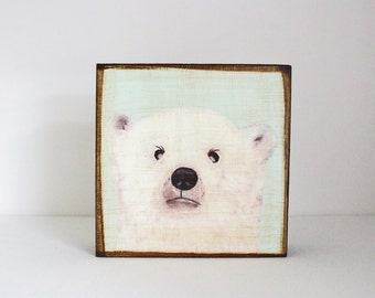 polar bear nursery decor, polar bear art- 5x5 art block- nursery decor- mint nursery- kids room decor- arctic nursery art- redtilestudio