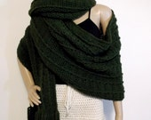 The Lenny Scarf - Hand Crochet Rib Design, Stylish Winter Lenny Scarf / Ginormous Scarf / Thick / 9.5 ft x 24 in - Choose Your Color
