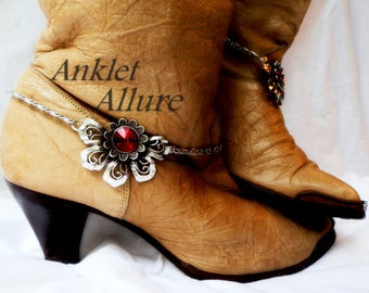 End Of Summer Flower Red Rhinestone Boot Chains Stainless Steel Chains Silver Boot Jewelry