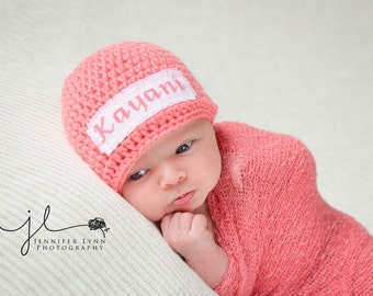Crochet Baby Personalized Name Cross Stitch Beanie - Newborn to 3 months - Strawberry - MADE TO ORDER