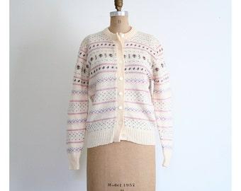 ladies Scottish wool fair isle cardigan sweater - 80s preppy sweater / Highland Glen - Scotland / ivory wool cardigan - 80s prep
