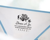 Nautical Beach House Wedding Personalized Custom Return Address Rubber Stamp or SeIf Inking - Starfish Coral Reef Seahorse