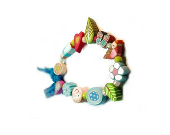 Fairy Child bracelet, Spring bracelet for girl, blue kid jewelry, Fairy ribbon bracelet, Junior bridesmaid jewelry, polymerclay beads