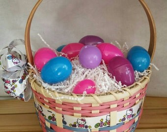 Handmade Large Girl's Classic Round Easter Basket - Hello Kitty Pink and Blue