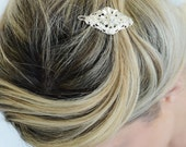 Silver Hair barrette With Pearls - Bridal Hair Accessory - Wedding Hair Jewelry - Wedding Head Piece - Silver pearl clip - Silver barrette
