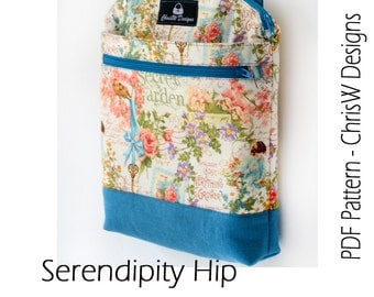 Designer Hipster Cross Body Bag Pattern PDF for sewing your own Purse. Serendipity Hip by ChrisW Designs