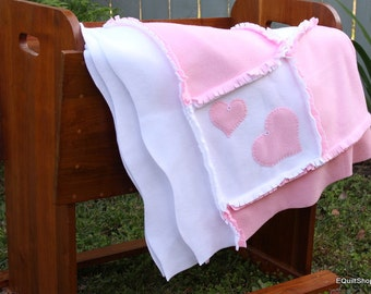 Hearts Blanket in Pink