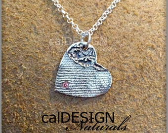 Artisan Made Denim & Floral Lace Necklace, Sterling Silver Heart Pendant w Pink CZ - Valentine's Day and Mother's Day Anniversary