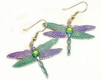 Upcycled Dangle Handmade Dragonfly Earrings, dangle dragonfly earrings, upcycled dragonfly earrings, purple, green, rhinestones, colorful