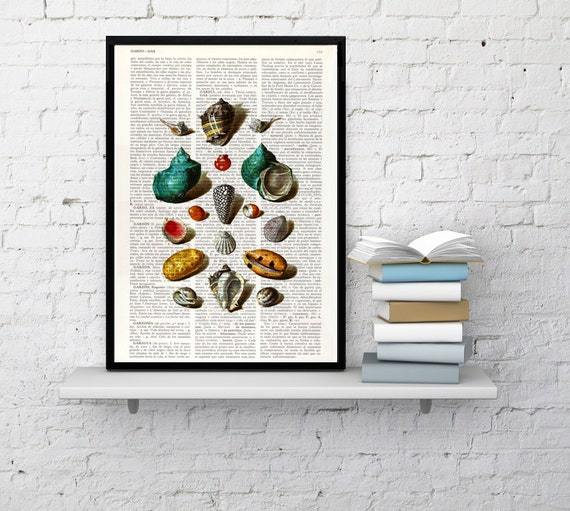 Sea Shell collage VIII Print on Vintage Dictionary Book illustration beautifully upcycled art print ,art print SEA027b