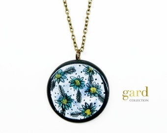 Beautiful ceramic pendant necklace, Flowers necklace, Flowers pendant, Modern romantic jewelry, Illustrated jewelry, Ceramics and pottery