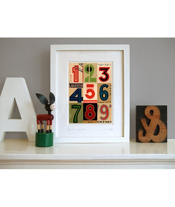 Art deco numbers pop art print contemporary collage maybe - Deco pop art ...