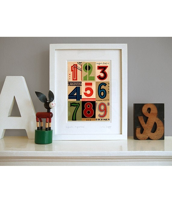art deco numbers pop art print contemporary collage maybe. Black Bedroom Furniture Sets. Home Design Ideas