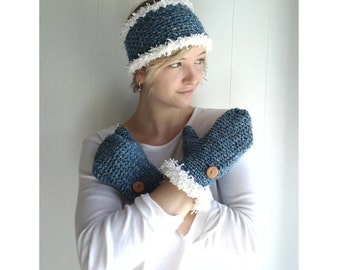 Crochet PATTERN - Frosty Headband and Mittens  ( Toddler, Child, Adult Sizes)