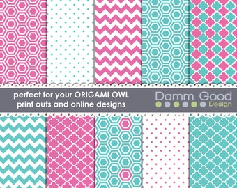 DIGITAL PAPERS- Origami Owl Backgrounds, O2 backgrounds chevron, quatrefoil, hexigon, polka dot