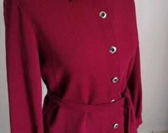 Vintage Wool Jacket / Blouse - Burgundy/Raspberry  - Jaeger 1960s 1970s Wool Jacket - Silver Buttons Self Tie Belt