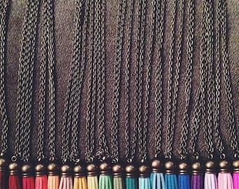Faux Leather Tassel Necklace, Brass Tassel Necklace, Pom poms, Children's necklace, Boho Hippie Necklace, Festival Accessory, vegan Tassel