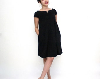 Black Maternity dress, Trapeze mini dress, Black pregnancy dress, Sleeveless dress, Black pregnancy elegant dress, Black tunic, vegan dress