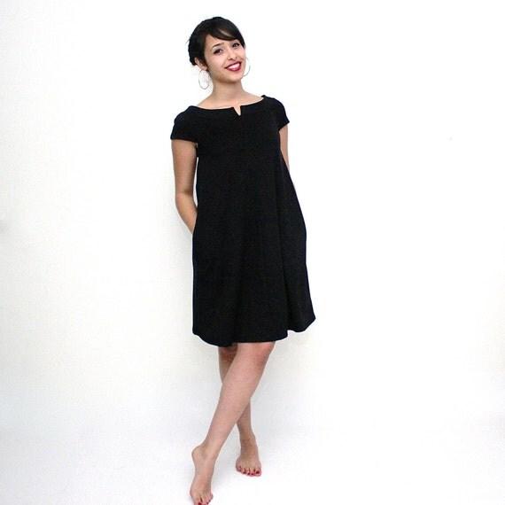 Black Maternity dress, Trapeze mini dress, Black pregnancy dress, Sleeveless dress, Black pregnancy elegant dress, Black tunic, vegan dress