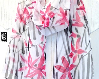 Silk Scarf Hand painted, White Scarf, Red and Black Scarf, Black and Red Zen Freesia Scarf, Silk Chiffon Scarf, 11x60 inches. Made to order