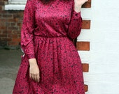 Vintage 80s tea dress floral UK 14 US 10 pink patterned sleeves