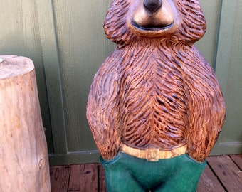 "3-foot Brown Bear with Trousers Chainsaw Wood Sculpture, ""Mr. Jenkins"""