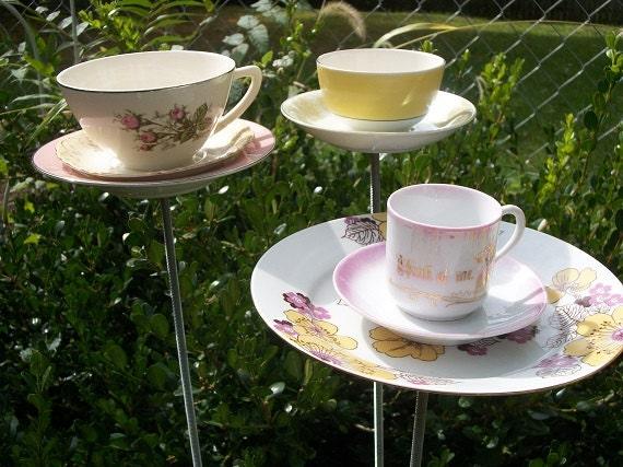 Trio of Teacups - Bird Feeder Garden Decor - Pink & Yellow - Set of 3