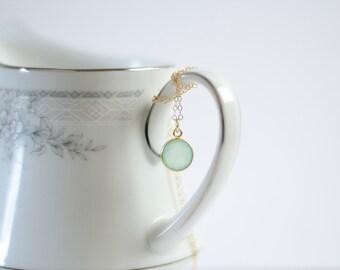 Mint Necklace   Gold Filled   Aqua Mint Chalcedony Bezel   Sea Foam Green   Everyday Simple Gemstone Pendant Necklace   Beach Wedding