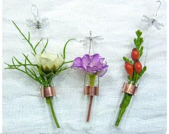 Tiny Glass Vase-5. Stocking stuffer. Glass flower vase. Bridesmaid gift.Christmas Ornament. Tiny flower vase. Miniature vase. Glass bud vase