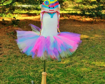 Girly Girls Rainbow Sock Monkey Costume Tutu and Crochet Hat with Furry Tail Baby Girls Halloween Outfit Full Set Handmade